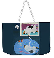 Weekender Tote Bag featuring the painting Paws And Effect by Phyllis Kaltenbach