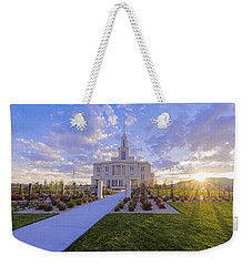 Weekender Tote Bag featuring the photograph Payson Temple I by Chad Dutson
