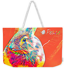 Weekender Tote Bag featuring the mixed media Peace Bunny by Jessica Eli