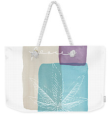 Weekender Tote Bag featuring the mixed media Peace Cannabis Leaf Watercolor- Art By Linda Woods by Linda Woods