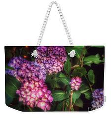 Weekender Tote Bag featuring the photograph Peace Garden - Purple Hydrangeas by Miriam Danar