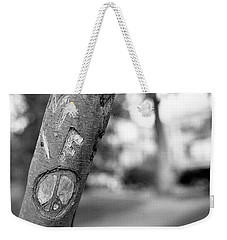 Peace Sign Carving, 1975 Weekender Tote Bag