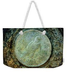 Weekender Tote Bag featuring the digital art Peace Silver Dollar Reverse by Randy Steele