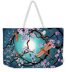 Peace Tree With Orange Dragonflies Weekender Tote Bag by Laura Iverson