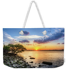 Weekender Tote Bag featuring the photograph Peaceful Evening On The Waterway by Debra and Dave Vanderlaan