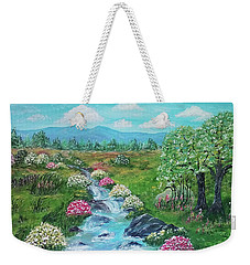Weekender Tote Bag featuring the painting Peaceful Meadow by Sonya Nancy Capling-Bacle