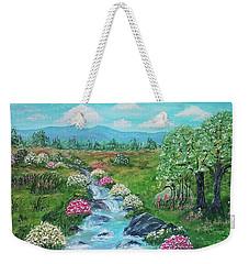 Weekender Tote Bag featuring the painting Peaceful Meadow by Sonya Nancy Capling-Bacle