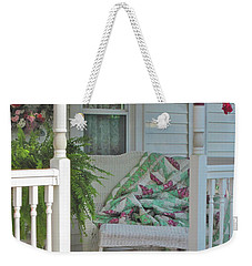 Weekender Tote Bag featuring the photograph Peaceful Porch In A Small Town by Nancy Lee Moran