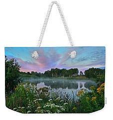 Peaceful Sunrise At Lake. Altai Weekender Tote Bag