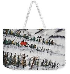 Weekender Tote Bag featuring the painting Peaceful Winter Daybreak by Jeffrey Koss