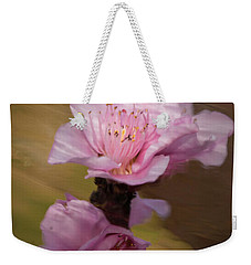 Weekender Tote Bag featuring the photograph Peach Blossom Through Glass by David Waldrop