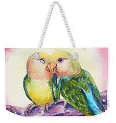 Peach-faced Lovebirds Weekender Tote Bag