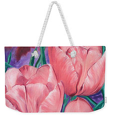 Peach Pink Tulips Weekender Tote Bag