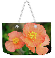 Weekender Tote Bag featuring the photograph Peach Poppies by Sally Weigand