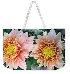 Peachy Chrysanthemums Weekender Tote Bag by Jeannie Rhode