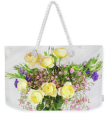 Peachy Yellow Roses And Lisianthus Bouquet Weekender Tote Bag