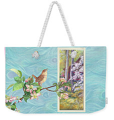 Weekender Tote Bag featuring the painting Peacock And Cherry Blossom With Wren by Judith Cheng
