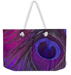 Peacock Candy Purple  Weekender Tote Bag by Mindy Sommers