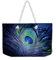 Weekender Tote Bag featuring the photograph Peacock Feather Blush by Sharon Mau