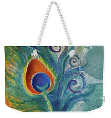 Weekender Tote Bag featuring the painting Peacock Feather Mural by Agata Lindquist