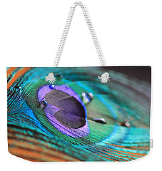 Peacock Feather With Water Drops Weekender Tote Bag by Angela Murdock