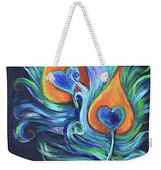 Weekender Tote Bag featuring the painting Peacock Feathers by Agata Lindquist