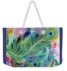 Peacock Feathers Bright Weekender Tote Bag