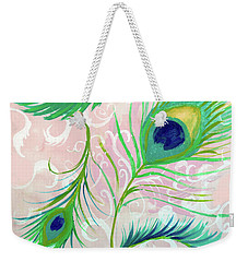 Weekender Tote Bag featuring the painting Peacock Feathers by Robin Maria Pedrero
