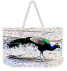 Peacock In Abstract Weekender Tote Bag