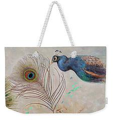 Weekender Tote Bag featuring the painting Peacock In Three Views by Nancy Lee Moran