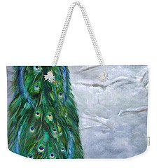 Weekender Tote Bag featuring the painting Peacock In Winter by LaVonne Hand