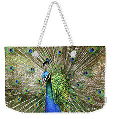 Weekender Tote Bag featuring the photograph Peacock Indian Blue by Sharon Mau