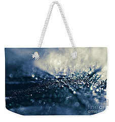 Weekender Tote Bag featuring the photograph Peacock Macro Feather And Waterdrops by Sharon Mau