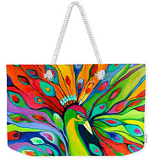 Weekender Tote Bag featuring the painting Peacock On The 4th Of July by Alison Caltrider