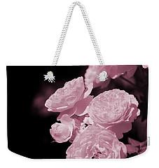 Peacock Pink Cabbage Roses On Black Weekender Tote Bag