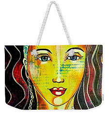 Weekender Tote Bag featuring the mixed media Peacock Princess by Julie Hoyle