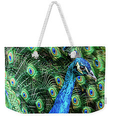 Weekender Tote Bag featuring the photograph Peacock by Steven Sparks