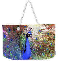 Peacock Wonder, Colorful Art Weekender Tote Bag