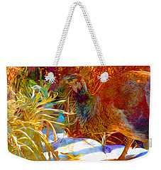 Peahen Eating Winter Garden Kale Weekender Tote Bag by Anastasia Savage Ealy
