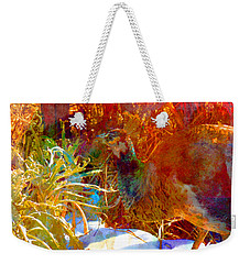 Peahen In Winter Garden I Weekender Tote Bag by Anastasia Savage Ealy