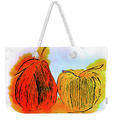 Pear And Apple Watercolor Weekender Tote Bag