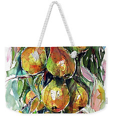 Weekender Tote Bag featuring the painting Pear by Kovacs Anna Brigitta
