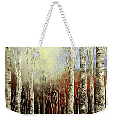 Weekender Tote Bag featuring the painting Pearls In The Mist by Tatiana Iliina