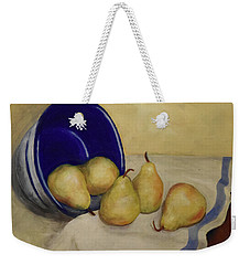 Weekender Tote Bag featuring the painting Pears And Blue Bowl by Sandra Nardone