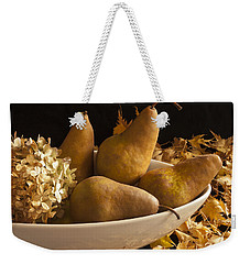 Pears And Hydrangea Still Life  Weekender Tote Bag by Sandra Foster