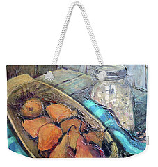 Weekender Tote Bag featuring the painting Pears And Peas by Gretchen Allen