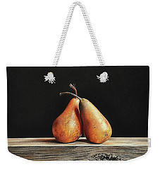 Weekender Tote Bag featuring the drawing Pears by Elena Kolotusha