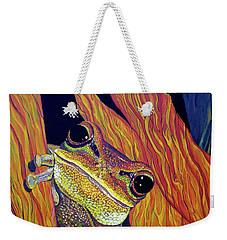 Weekender Tote Bag featuring the painting Peek A Boo by Debbie Chamberlin