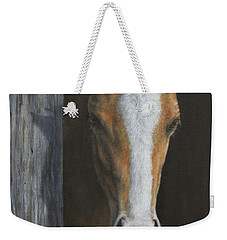 Weekender Tote Bag featuring the painting Peek A Boo by Kim Lockman