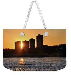 Weekender Tote Bag featuring the photograph Peekaboo Sunset by Sarah McKoy